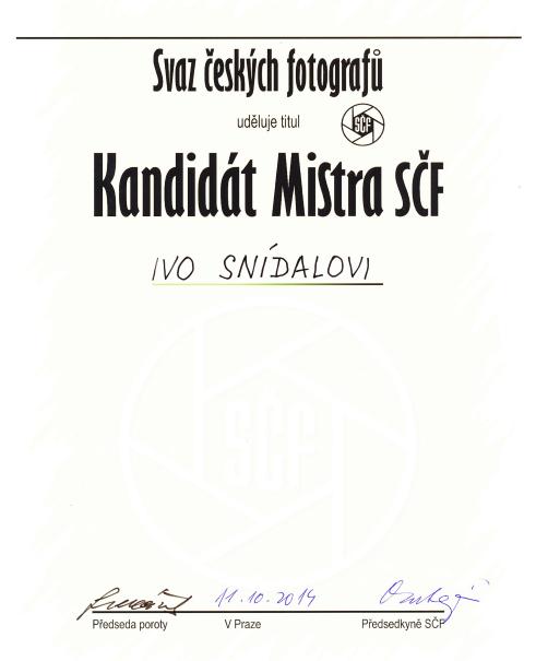 Kandidát Mistra SČF Ivo Snídal