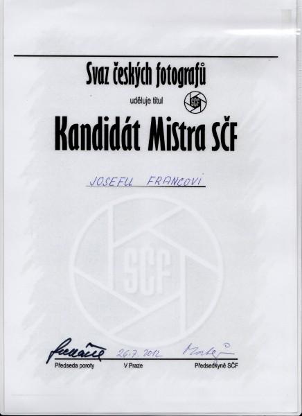 Kandidát Mistra SČF - Josef Franc
